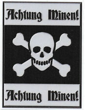 ACHTUNG MINEN!   LAMINATED VINYL STICKER 95MM HIGH