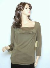 Michael Kors Stretch Rayon Cowl Neck Top Tunic Blouse Tee Safari Green PL New