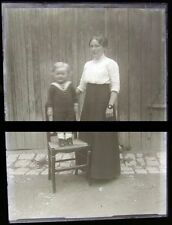 PLAQUE VERRE PHOTO NEGATIF circa.1914 MERE ET FILS mother & son  (B35)