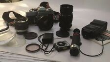 Minolta SRT 101 Black 35mm SLR Camera With 18mm,,Rokkor 58mm, Soligor 135mm ETC