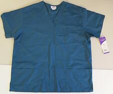 PEACHES L womens V-neck SCRUB top CARIBBEAN blue Tunic Patch&Chest pockets NEW