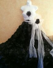 Onyx Rose Black White Natural Waist Tulle Sash Wedding Gown