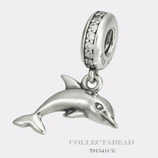 Authentic Pandora Sterling Silver Dangle Playful Dolphin Clear CZ Bead 791541CZ
