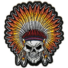 Embroidered Skull Indian Head Dress Feathers Iron on Sew on Biker Patch Badge