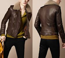 Large Burberry Brit Brown Leather Biker Aviator Jacket w/ Shearling Fur Collar