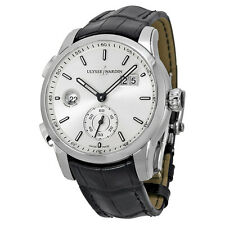 Ulysse Nardin GMT Dual Time Automatic Silver Dial Black Leather Mens Watch
