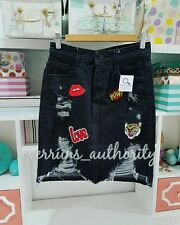 BNWOT denim patched tattered skirt