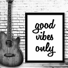 Inspirational Quote Good vibes only Motivational Poster Wall Art Decor Digital