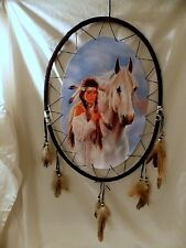"""NEW OVAL INDIAN GIRL WOMAN WITH HER HORSE DREAM CATCHER FEATHERS BEADS 21"""""""