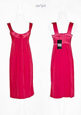 Plein Sud MADE IN ITALY Daring Scoop Neck Silk Pink Coral Cocktail Dress 2 36 XS
