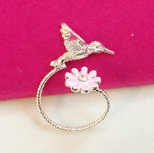 Antique Silver Plt Hummingbird Ring / Thumb Ring Adjustable Ladies Girls gift p