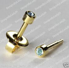 Mini Gold Ear Piercing Earrings 3mm Baby Blue March Gem Hypoallergenic