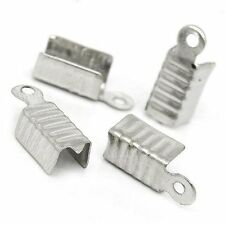 1000 Fold Over Cord Tip/ends Crimps Nickel Steel Tone, 12x5mm