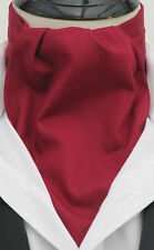 Mens Rich Burgundy Top Quality 100% Cotton Ascot Cravat and Hanky - Made in UK