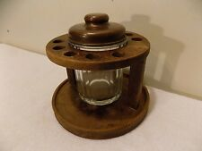 Vintage Wood Pipe Rack Holder & Glass Humidor