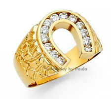 Men's 14k yellow Big Bold Real Gold Nugget Ring with Horseshoe Man-made diamonds