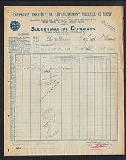 BORDEAUX (33) Dépot de la Cie FERMIERE de l'ETABLISSEMENT THERMAL de VICHY 1923