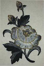 """2 1/2"""" x 4"""" Grey Gray Oriental Blossom Flower Embroidery Applique Patch"""