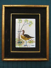 CURLEW SANDPIPER Sea Bird nest egg Beach Enamel on Copper Painting SIGNED WATTS