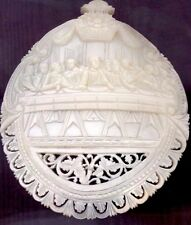 """Antique Hand Carved """"The Last Supper"""". Mother-of-Pearl. Convex. Bethlehem. 1890."""