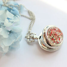 Sliver Crystal Red Flower Quartz Pendant Necklace Pocket Watch Chain Gift