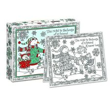 WINTER HAPPINESS Adult Coloring CHRISTMAS CARDS, Box Set of 18, by LANG