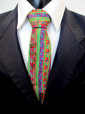 Vibrant Oreste Dazzling Colours Purple Orange Green Red Blue Silk Tie