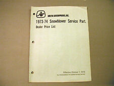 Vintage 1973-1974 Arctic Cat Dealer Snowblower Service Parts Price List Manual