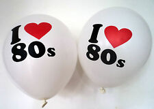 "80s Party Decoration - I Love 80s Balloons x 10 - 12"" Balloons - Helium Quality"