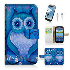 Samsung Galaxy S3 Print Flip Wallet Case Cover! Blue Owl Art P0135
