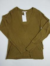 H&M WOMENS GOLD BROWN SOLID KNIT V-NECK L/S TOP SHIRT BLOUSE SWEATER XS NWT