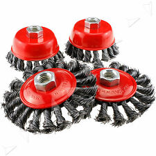 """4 X 3"""" 4"""" Twist Knot Wire Wheel Cup Flat Brush Set M14 Screw Inch Angle Grinder"""
