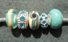 5 Beige / Cream / Blue Mix Glass Rhinestone Beads fit European Charm Bracelet