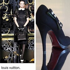 Louis Vuitton Swarovski Crystal Embellished Wool Felty Pumps