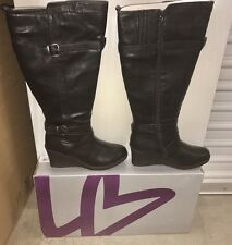 NIB Lane Bryant BLACK WEDGE HEEL COMFY RIDING BOOTS Size 11W - Wide Width & Calf