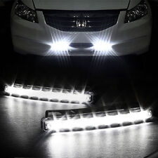2x Car Light 8 LED DRL Fog Driving Daylight Daytime Running LED White Head Lamp