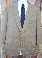 Paul Stuart Men's Wool Silk Blend Brown Plaid Jacket Sport Coat 48/50 Short