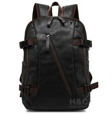 Men's Vintage Backpack School Bag Travel Satchel PU Leather Laptop Bag Rucksack