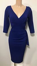 BEAUTIFUL BLUE PLUNGE NECK BODYCON WIGGLE PENCIL DRESS SIZE 14