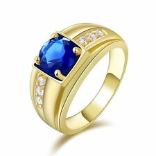 Fashion Men's Blue Sapphire Yellow Gold Filled Engagement Promise Ring Size 9