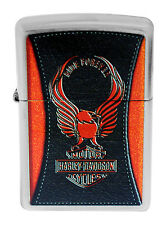 Zippo 28823 Harley Davidson Orange Eagle Ride Forever Street Chrome Lighter New