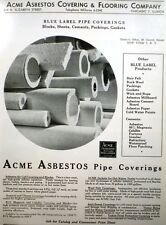 ACME ASBESTOS & Philip Carey Pipe Insulation Catalog Page Ad 1952