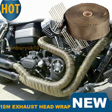 10M Titanium Exhaust Manifold Downpipe Heat Wrap & 30CM Cable Ties Pipe Tape UK