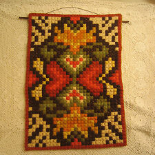 Vintage 70's  Handmade Needlework Wall Hanging  15 x 21 Browns Green Red Yellow
