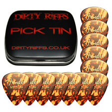 12 x Fender Tortoiseshell Medium Classic Celluloid Guitar Picks In A Pick Tin