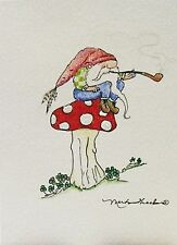 Greeting Card Tomte Troll Elf Gnome Wichtel Zwerg Toadstool PipeDrawing Picture