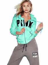 VICTORIAS SECRET PINK PERFECT FULL ZIP HOODIE SKYBRIGHT SIZE M NIP
