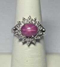 Sterling Silver 9x7mm Oval Cabochon-cut Created Star Ruby & Diamond Ladies Ring
