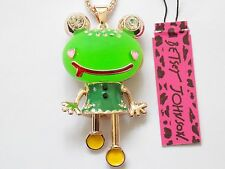 Betsey Johnson Rhinestone Green frog Pendant Necklace