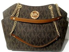 NWT Michael Kors Brown PVC Jet Set Travel Large Chain Shoulder Tote Bag Purse
